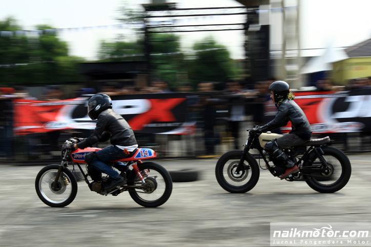 Balapan Motor Cafe Racer di Indonesia Rockers Day 2017