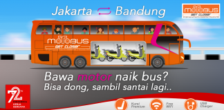 motobus, bus khusus angkut motor dan pengendaranya