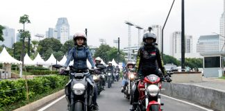 Lady bikers sunset ride