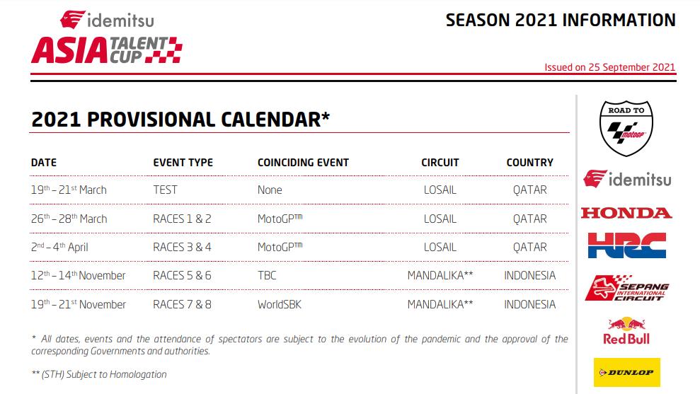 Kalender Asia Talent Cup