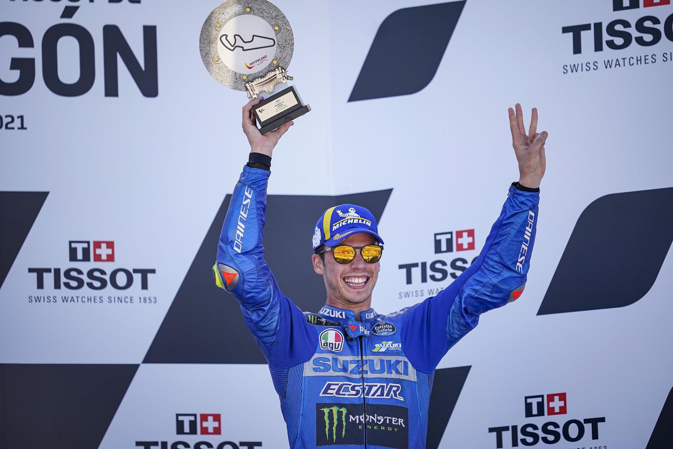 Seri MotoGP 2021 Aragon, (12/9/2021) berlangsung mendebarkan. Pembalap Suzuki Ecstar, Joan Mir podium di Aragon,